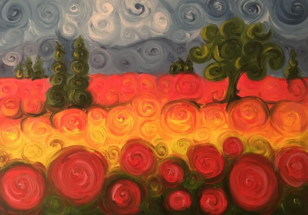 Carmelo scuderi quadri ad olio ed acquerello campo con for Quadri ad olio con fiori